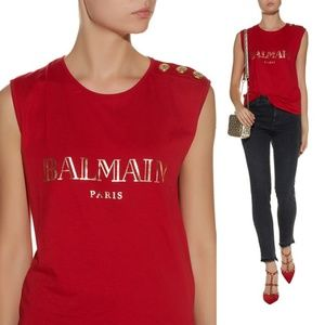 Balmain Sleeveless logo shirt gold buttons